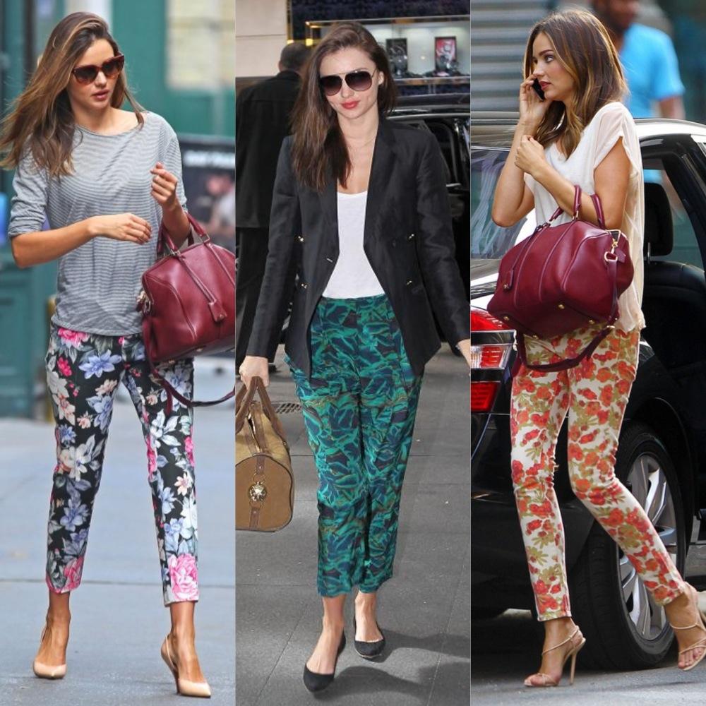 Miranda Kerr pantalones estampados 2014