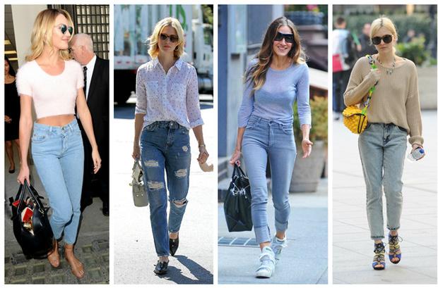celebrities mom pants denim tiro alto