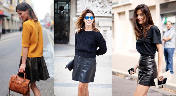 bloggers minifalda de cuero negra