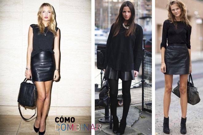 como_combinar_faldas_cuero_look_negro