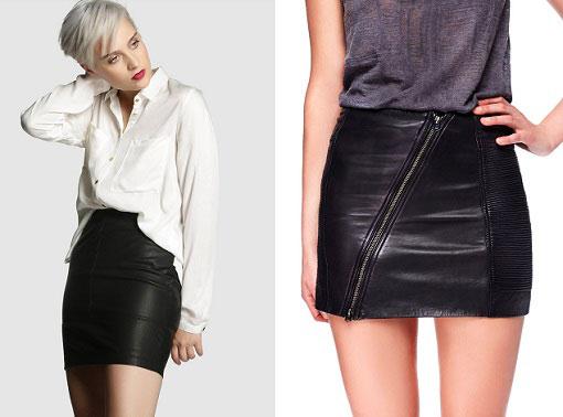 ¡Minifalda de cuero!