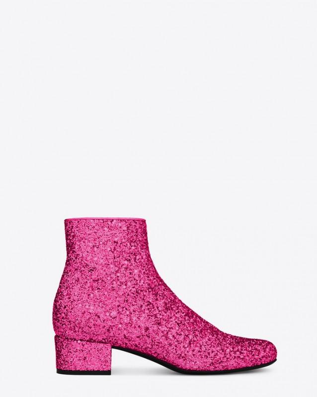 YSL botin chelsea glitter rosa