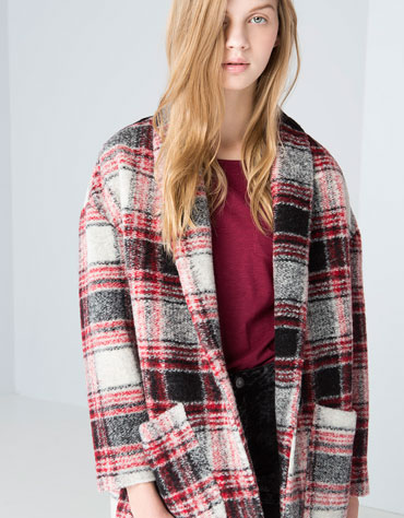 abrigo cuadros oversize bershka