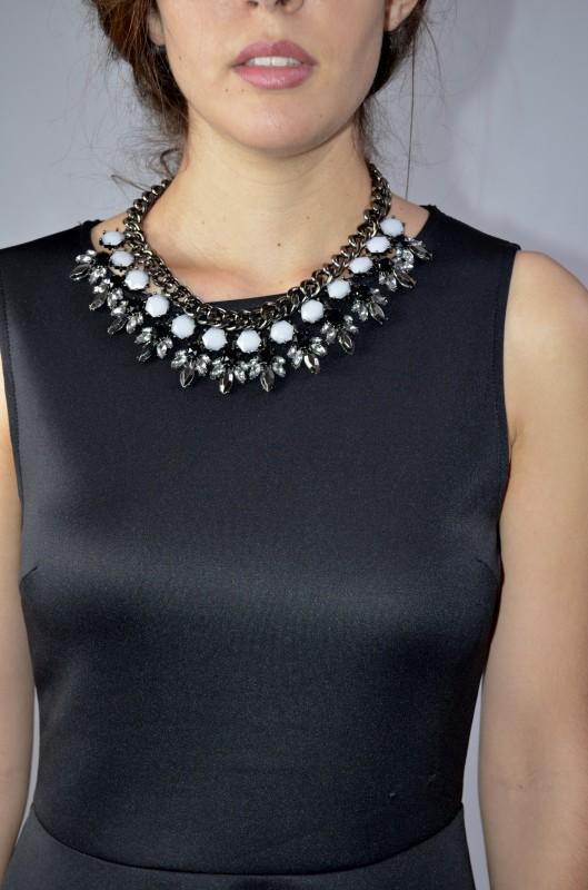 cadena con piedras Blanco y negro