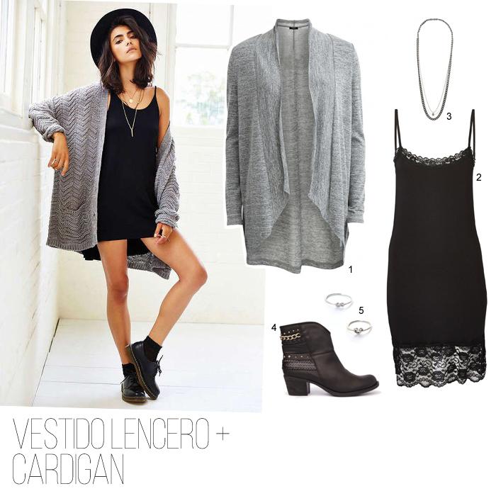 estilo-normcore-cardigan-gris-vestido-lencero-botines-minimal-sencillo