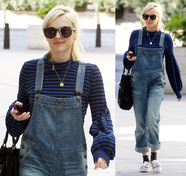 Fearne Cotton rocks a pair of denim dungarees on Good Friday as she arrives at the BBC studio in central London. Featuring: Fearne Cotton Where: London, United Kingdom When: 18 Apr 2014 Credit: WENN.com